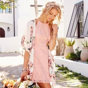 NWT Altar'd State Tulie Pink Lace Mini Dress